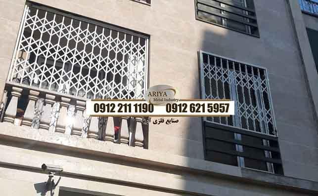 حفاظ پنجره فرفورژه گلدار - حفاظ بالکن - ساخت و نصب نرده آهنی پنجره در تهران - صنایع فلزی آریا
